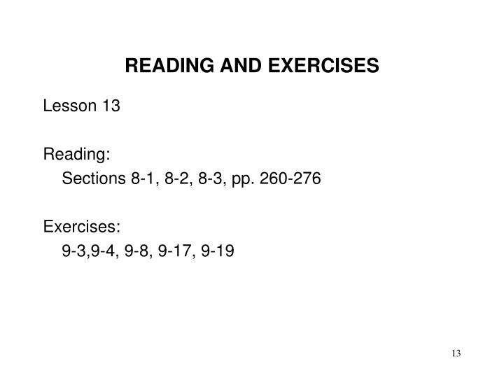 READING AND EXERCISES