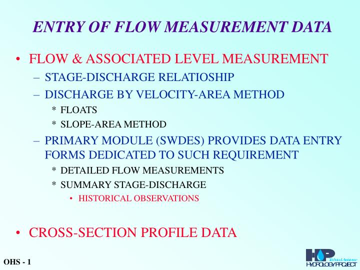 entry of flow measurement data n.