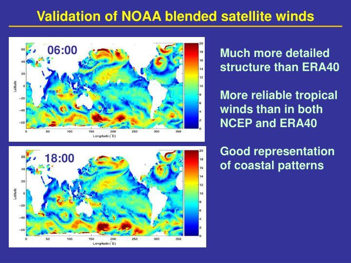 Validation of NOAA blended satellite winds