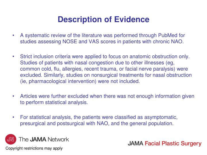 Description of Evidence