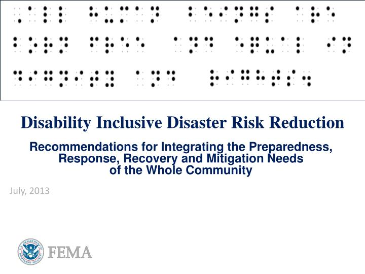 disability inclusive disaster risk reduction n.