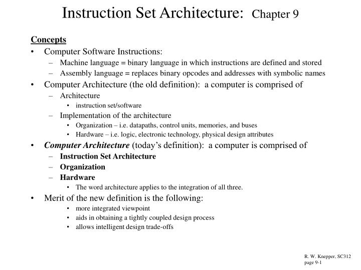 instruction set architecture chapter 9 n.