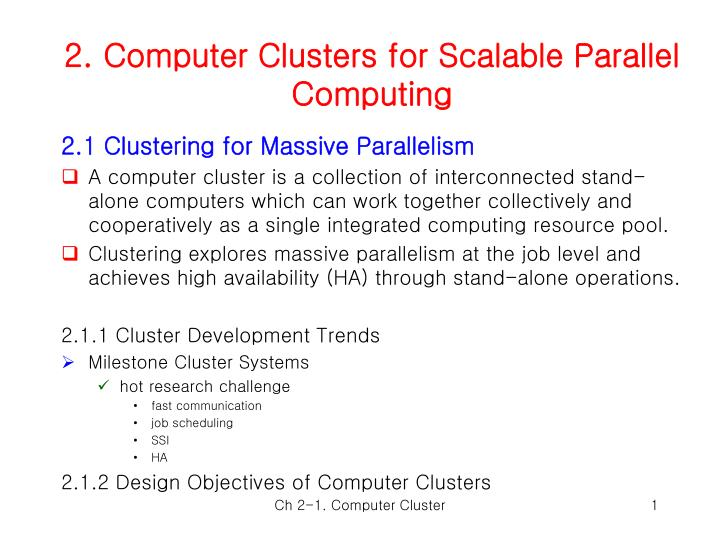 2 computer clusters for scalable parallel computing n.