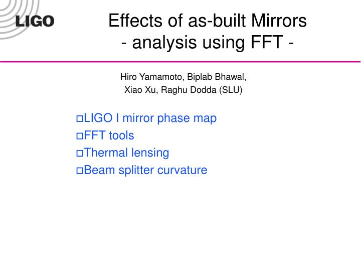 Effects of as built mirrors analysis using fft