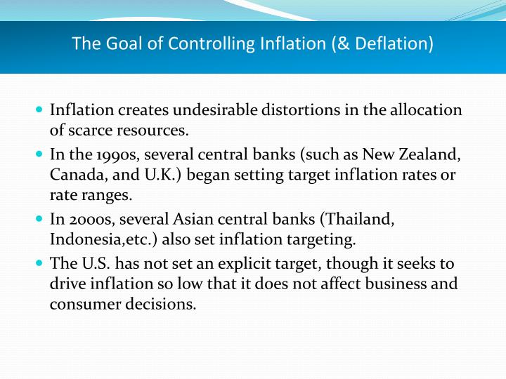 The Goal of Controlling Inflation (& Deflation)