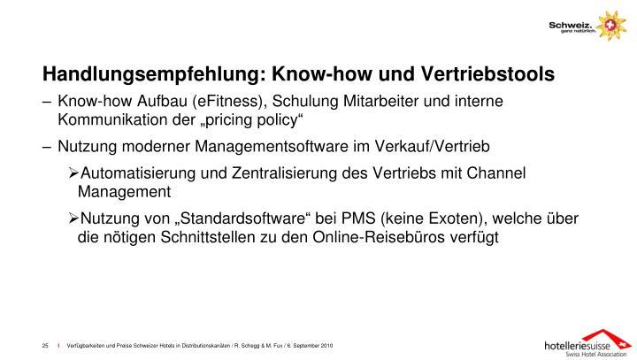 Handlungsempfehlung: Know-how und Vertriebstools
