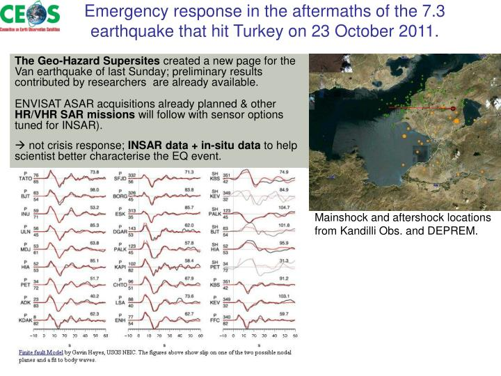 Emergency response in the aftermaths of the 7.3 earthquake that hit Turkey on 23 October 2011.