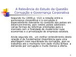 a relev ncia do estudo da quest o corrup o e governan a corporativa