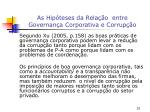 as hip teses da rela o entre governan a corporativa e corrup o