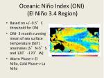 oceanic ni o index oni el ni o 3 4 region
