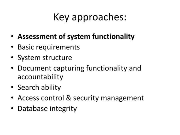 Key approaches: