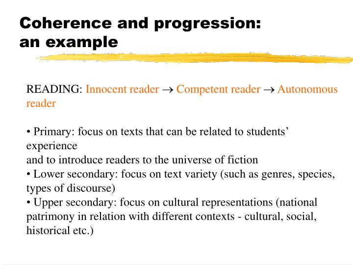 Coherence and progression: