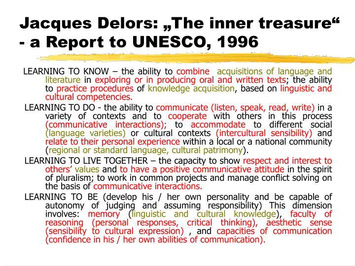 "Jacques Delors: ""The inner treasure"""