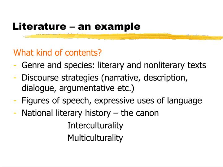 Literature – an example