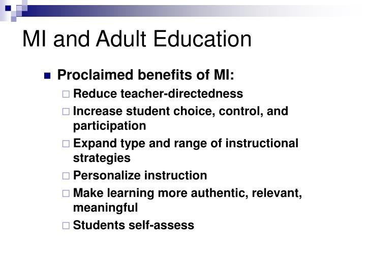 MI and Adult Education