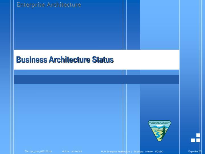 Business Architecture Status