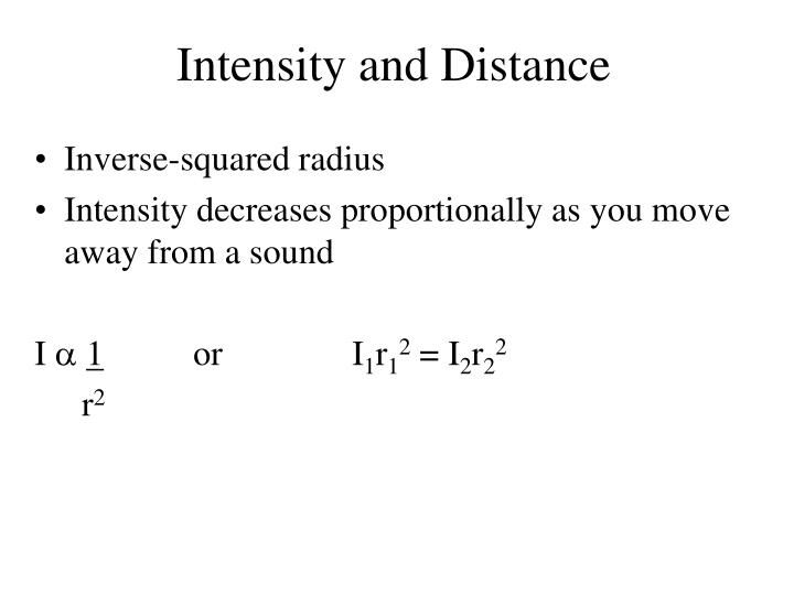Intensity and Distance