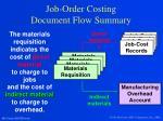 job order costing document flow summary