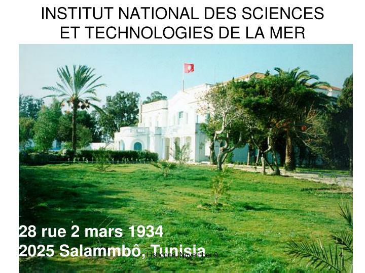 INSTITUT NATIONAL DES SCIENCES ET TECHNOLOGIES DE LA MER