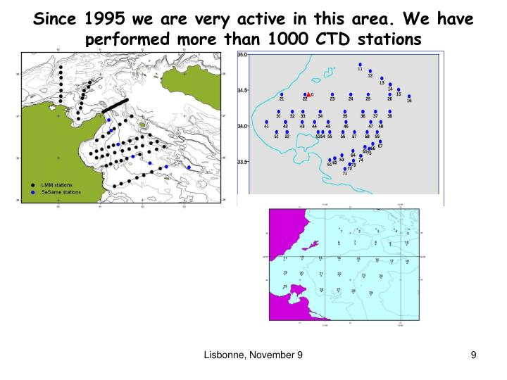 Since 1995 we are very active in this area. We have performed more than 1000 CTD stations