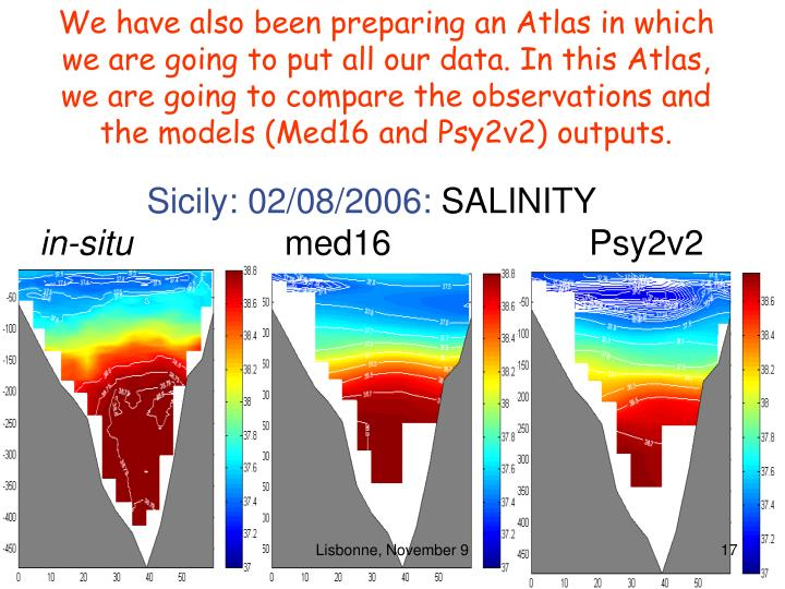 We have also been preparing an Atlas in which we are going to put all our data. In this Atlas, we are going to compare the observations and the models (Med16 and Psy2v2) outputs.