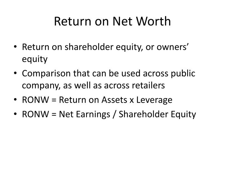 Return on Net Worth