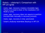 solaris ufsdump 1 comparison with hp ux ignite