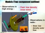 models two component outflow