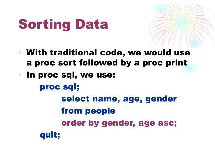 Sorting Data