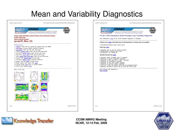 Mean and Variability Diagnostics