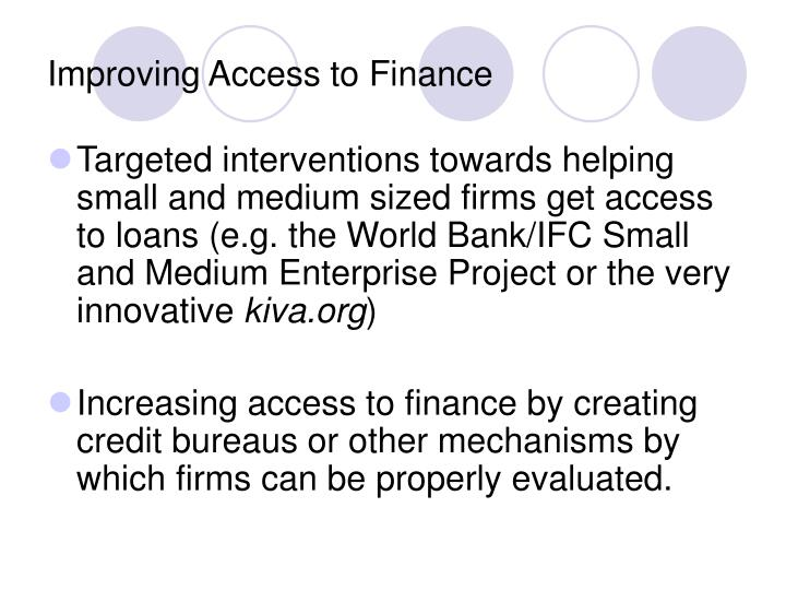Improving Access to Finance