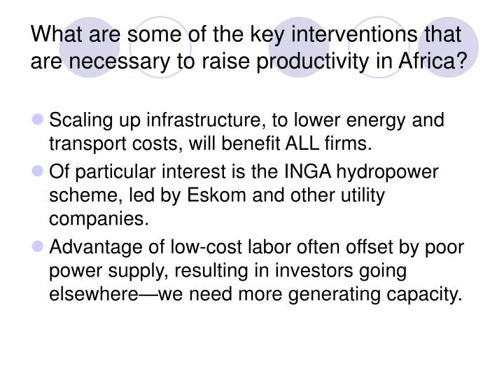 What are some of the key interventions that are necessary to raise productivity in Africa?