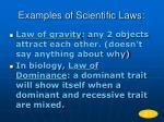 examples of scientific laws