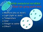 possible manipulated variables