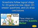 scientists follow logical steps to 1 generate new ideas 2 answer questions and 3 draw conclusions