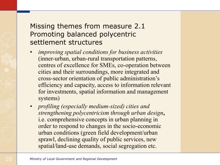 Missing themes from measure 2.1 Promoting balanced polycentric settlement structures