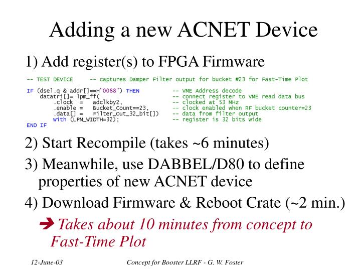 Adding a new ACNET Device