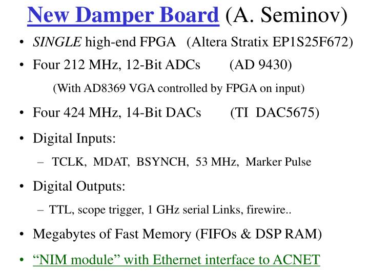 New Damper Board