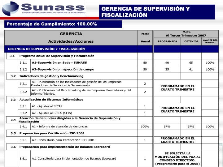 GERENCIA DE SUPERVISIÓN Y FISCALIZACIÓN
