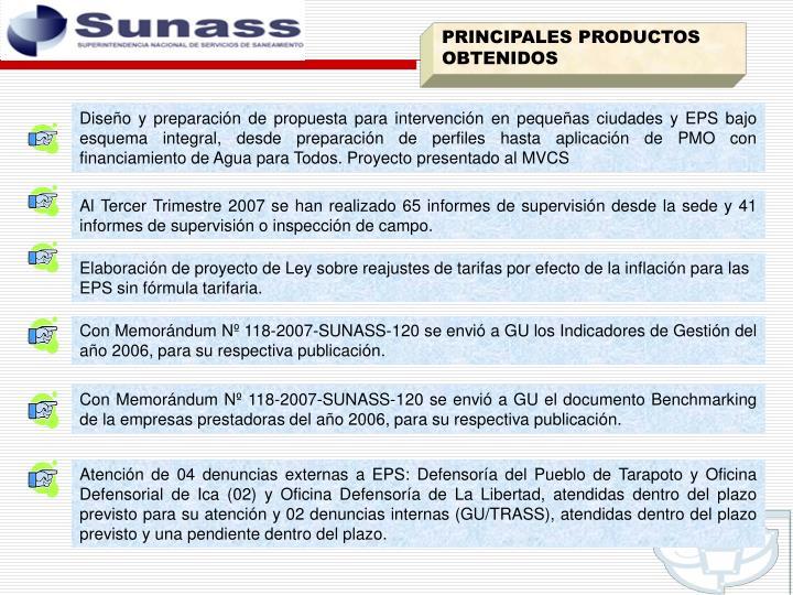 PRINCIPALES PRODUCTOS OBTENIDOS