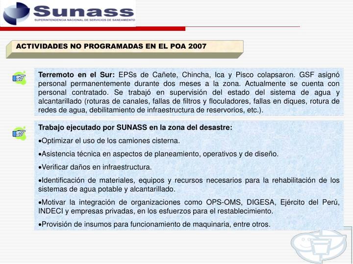 ACTIVIDADES NO PROGRAMADAS EN EL POA 2007