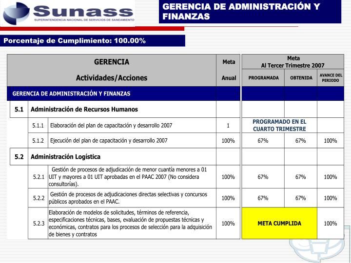 GERENCIA DE ADMINISTRACIÓN Y FINANZAS