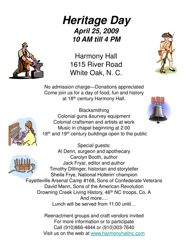 heritage day april 25 2009 10 am till 4 pm harmony hall 1615 river road white oak n c n.