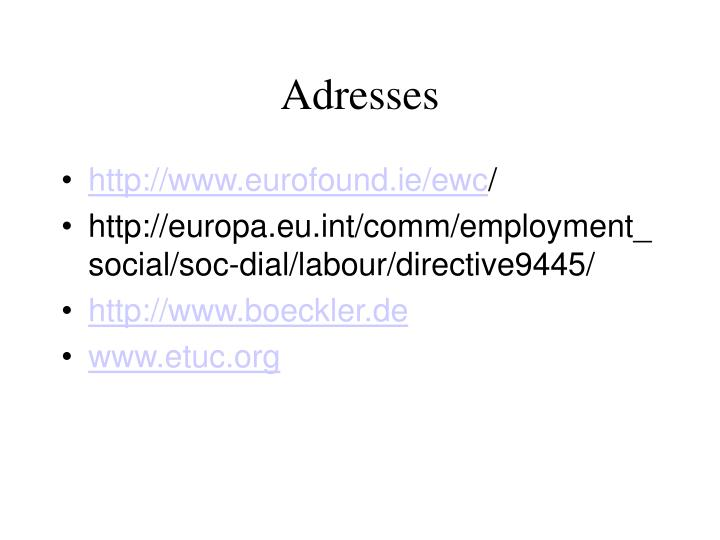 Adresses