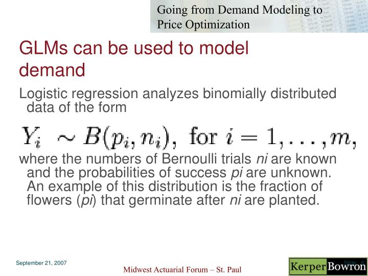 GLMs can be used to model demand