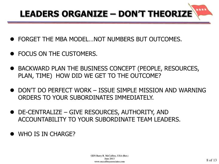 LEADERS ORGANIZE – DON'T THEORIZE
