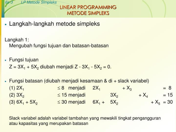 Linear programming metode simpleks