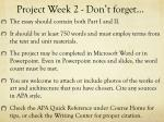 project week 2 don t forget