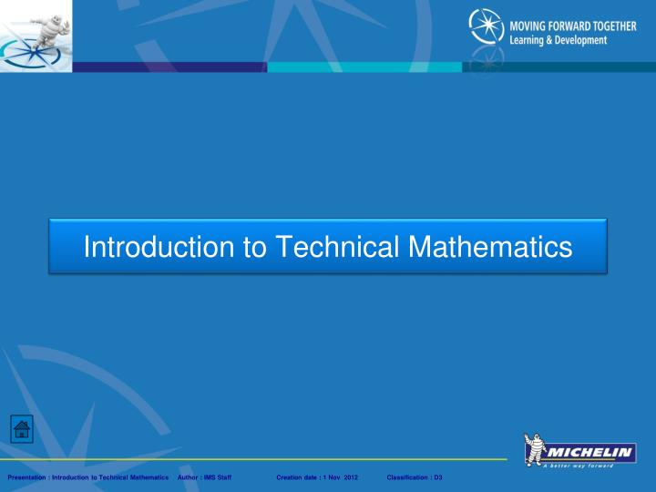 introduction to technical mathematics n.