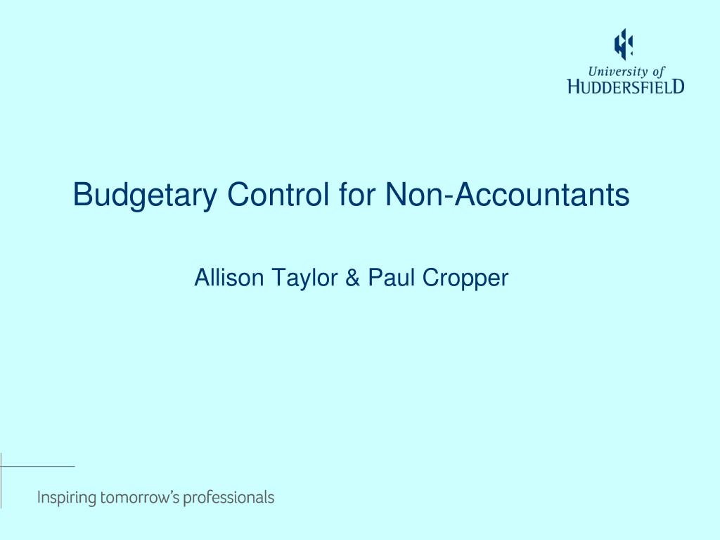 PPT - Budgetary Control for Non-Accountants PowerPoint Presentation